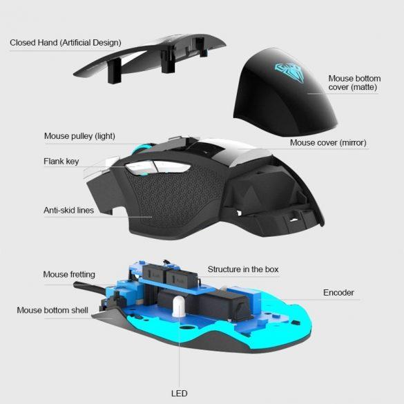AULA S12 Profesionálna hráčska myš - 4800 dpi, 7 programovateľných tlačidiel, RGB LED osvetlenie, káblové USB pripojenie
