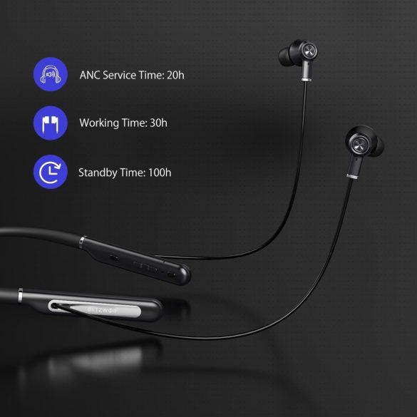 BlitzWolf® BW-ANC2 náhlavná súprava na krk s aktívnym potlačením hluku, zavesenie na krk, dlhý pracovný čas, bluetooth V5.0,