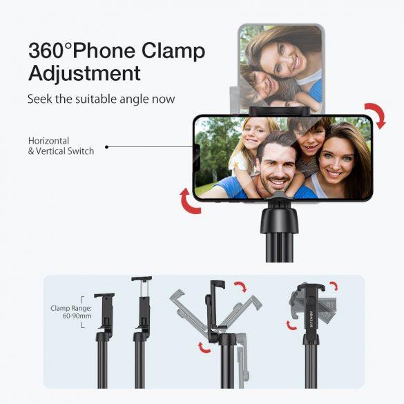 Selfie stick, tripod + extra dĺžka - BlitzWolf® BW-BS10 Plus dlhý 1300 mm, s výsuvným stojanom, skrytými nohami, odnímateľným diaľkovým ovládaním