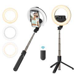 BlitzWolf® BW-BS8 Pro - selfie tyč s doplnkovým svetlom, statív, 5-palcové kruhové svetlo