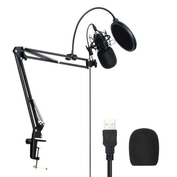 BlitzWolf BW-CM2 - USB kondenzátorový mikrofón + popový filter + rameno držiaka mikrofónu