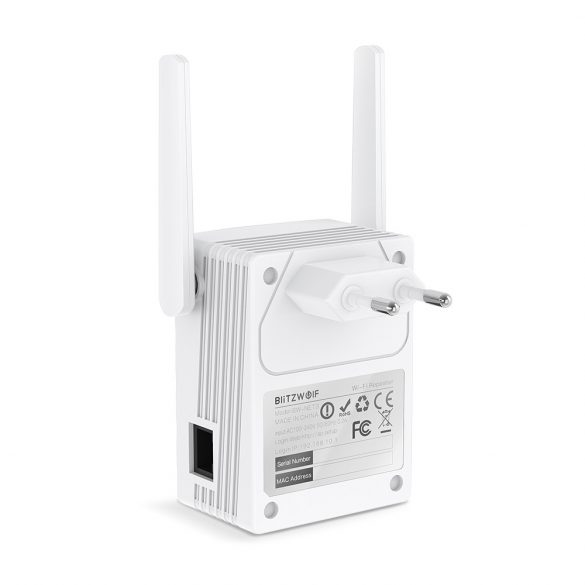 BlitzWolf®BW-NET3 - 2.4G+5G Dual Band WiFi repeater; Rozsah: 1200m; 2x3.5dBi antény, 1167 Mb/s