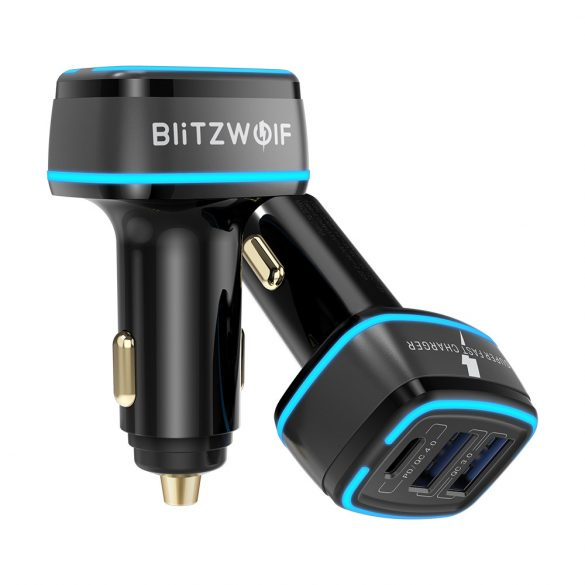Nabíjačka do auta BlitzWolf® BW-SD7 - 30W,  2xQC4.0 + 1x PD technológiou rýchleho nabíjania, LED osvetlenie
