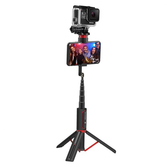 BlitzWolf® BW-BS10 sport - Prenosný selfie stick, všetko v jednom, s výsuvným statívom, skrytou svorkou do telefónu, do dĺžky 720 mm, odnímateľné diaľkové ovládanie