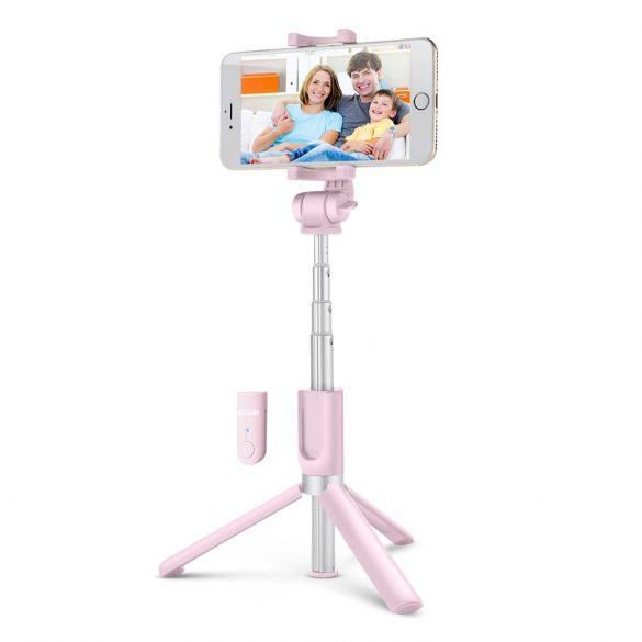 BlitzWolf BW-BS3 ružový ministatív na telefón s diaľkovým ovládaním a selfie tyč v jednom (3v1)