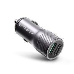 BlitzWolf® BW-SD2 30W dvojitý port USB nabíjačka do auta s QC3.0; Power3S Tech a s LED svetlami