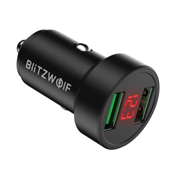 Nabíjačka do auta 24W BlitzWolf® BW-SD6 s technológiou rýchleho nabíjania 1xQ3.0 a 1xQ2.0, s bývalým displejom