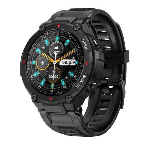 čierna športové inteligentné hodinky Blitzwolf® BW-AT2 - 10 až 15 dní výdrže na batériu, 1,3-palcový IPS displej, nespočetné množstvo vstavaných funkcií