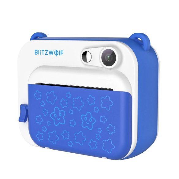 Blitzwolf BW-DP1 - Detská kamera a okamžitá tlačiareň v jednom: 1080P, 30 snímok za sekundu, filtre atď. - Modrá