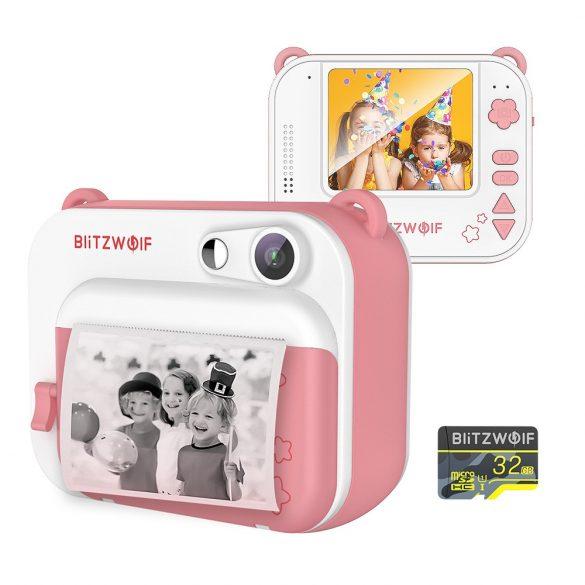 Blitzwolf BW-DP1 - Detská kamera a okamžitá tlačiareň v jednom: 1080P, 30 snímok za sekundu, filtre atď. - ružová