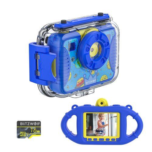 Blitzwolf BW-KC2 - vodotesný detský fotoaparát: 1080P, 30 snímok za sekundu - modrý