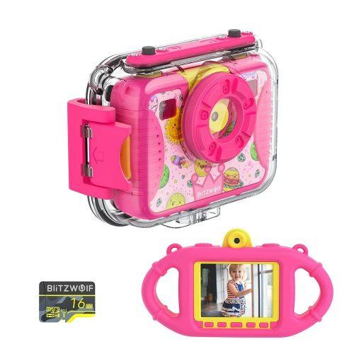 Blitzwolf BW-KC2 - vodotesný detský fotoaparát: 1080P, 30 snímok za sekundu - Ružová