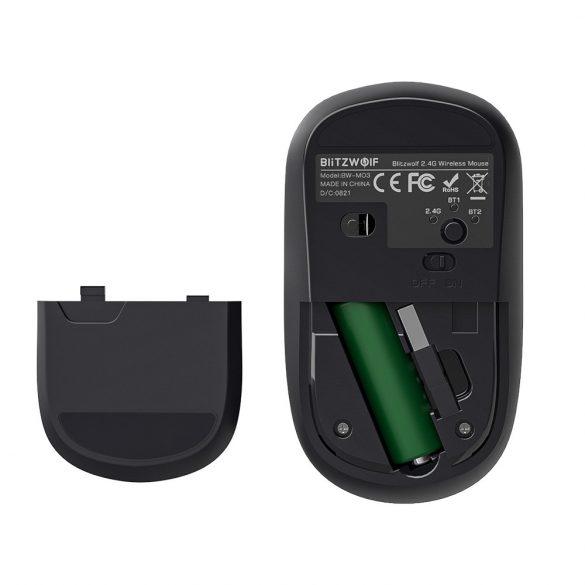 Bezdrôtová myš Blitzwolf BW-MO3 - Bluetooth + bezdrôtová technológia 2,4 GHz, 2 400DPI - strieborná