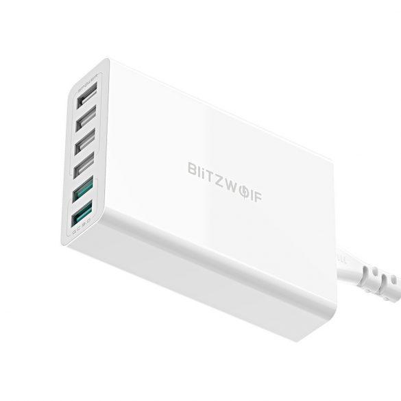 BlitzWolf® BW-S15 nástenná USB nabíjačka 60W / 6 port (2x QC3 + 4 norm. port)