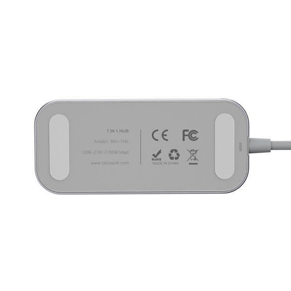 BlitzWolf® BW-TH5 7 v 1 dátový rozbočovač USB-C s čítačkou kariet USB 3.0 TF, 3 porty, HDMI, nabíjanie PDD USB-C