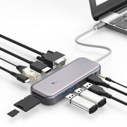 Blitzwolf BW-TH8 Hub 11 v jednom: 100 W, port USB 3.0, čítačka kariet SD, 4K HDMI, VGA, jack, port LAN