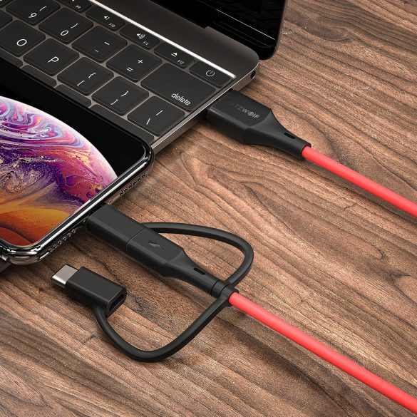 BlitzWolf® BW-MF4 3in1: Type C, Apple Lightning, Micro USB kábel