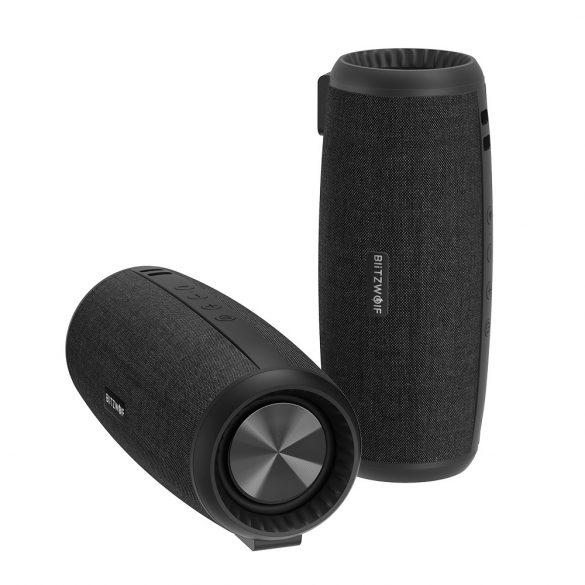 BlitzWolf® BW-WA1 12W bezdrôtová bluetooth 5.0 reproduktorová duálna pasívna membrána TWS Stereo TF karta U diskový reproduktor s mikrofónom - čierny