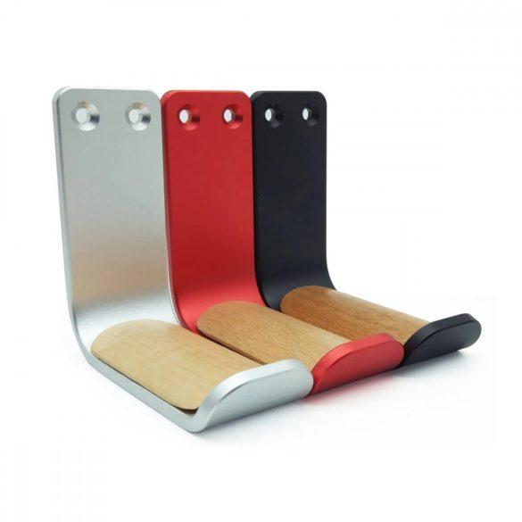Držiak na slúchadlá, nástenný - hliník - čierna, červená