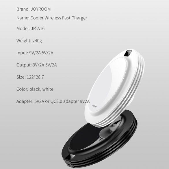 Rýchla nabíjačka JOYROOM JR-A16 + AC - sklenená doska, displej, 18 W bezdrôtová rýchlonabíjačka pre všetky telefóny vyhovujúce QI - biela