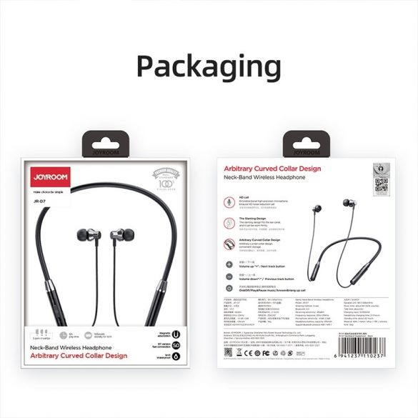 Joyroom JR-D7 red - Bezdrôtový Sport Bluetooth headset (IPX5 vodotesná, magnetická hlavica)