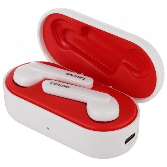 Slúchadlá Lenovo HT28 Bluetooth V5.0 - čistý zvuk, štýlový vzhľad, dotykové ovládanie, vodotesnosť IPX5, potlačenie hluku. Biela a červená
