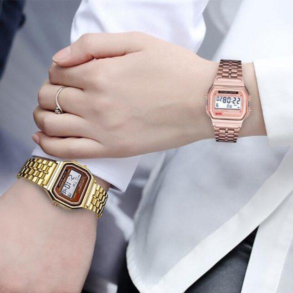Retro kremenné hodinky - zlato farba, vodeodolné prevedenie (IP44), puzdro z nehrdzavejúcej ocele