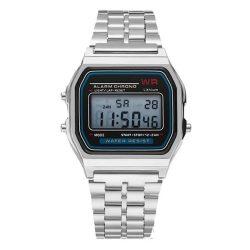 Retro kremenné hodinky - strieborná farba, vodeodolné prevedenie (IP44), puzdro z nehrdzavejúcej ocele
