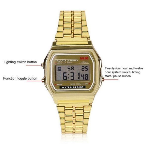 Retro kremenné hodinky - čierna farba, vodeodolné prevedenie (IP44), puzdro z nehrdzavejúcej ocele