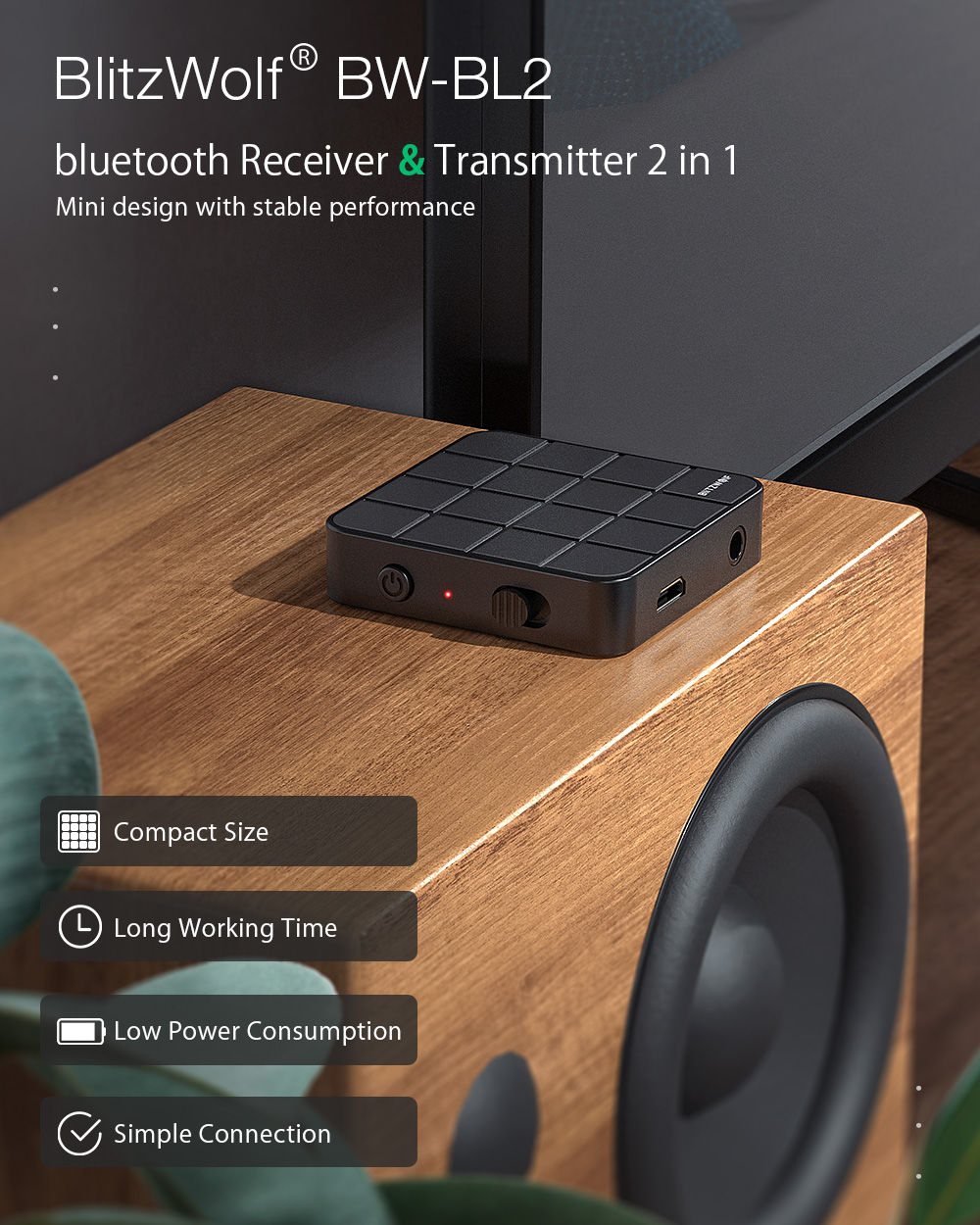 Blitzwolf BW-BL2 bluetooth receiver and transmitter