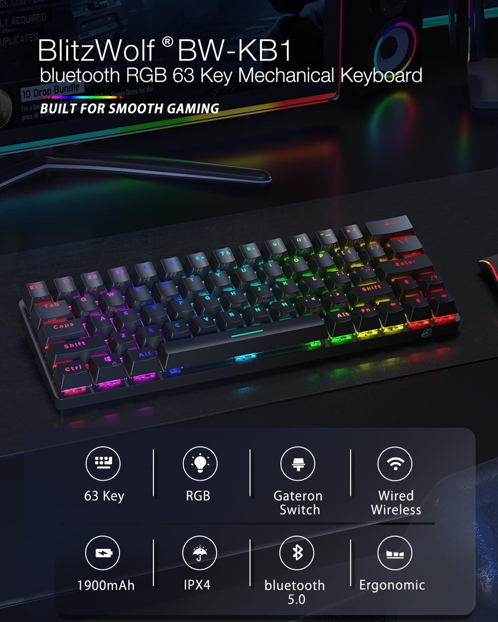 Blitzwolf BW-KB1 Mechanikus gamer billenytűzet