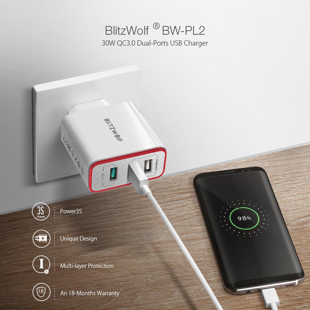Blitzwolf BW-PL2 fali USB töltő