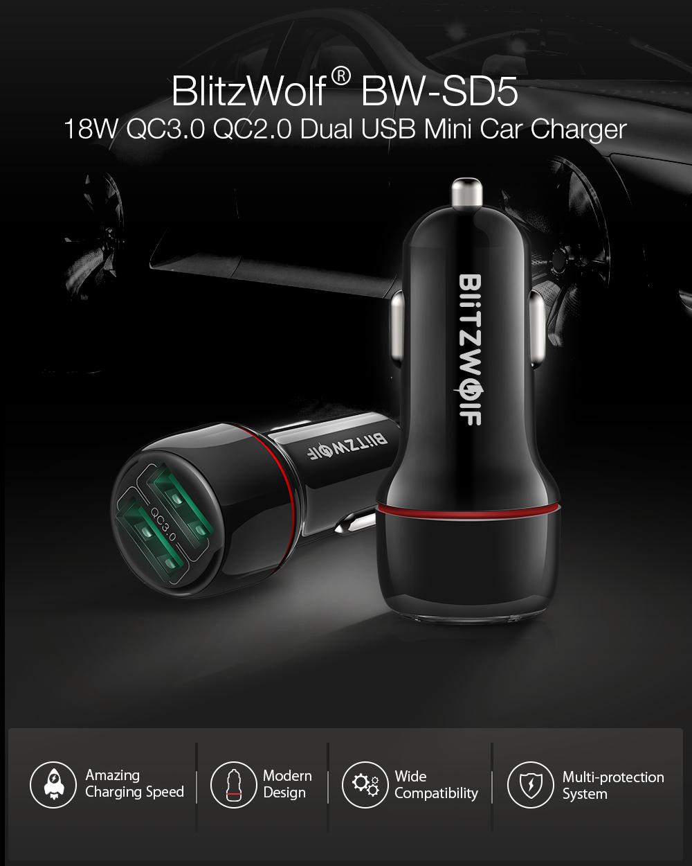Blitzwolf BW-SD5 autós töltő QC3.0